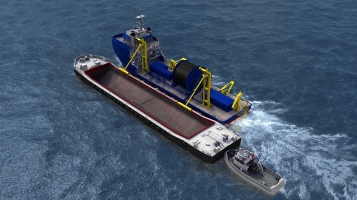 Barge and Tug alongside PSV at start of loading process 1MB