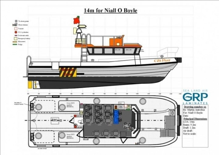 The new 14m Wind Farm Transfer Vessel in build by GRP Laminates for Coastal Zone Services