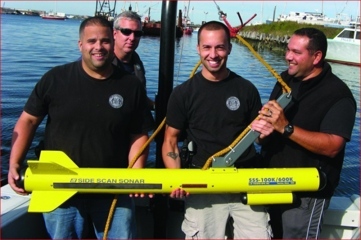 Members of New Bedford Police with Fisher side scan sonar