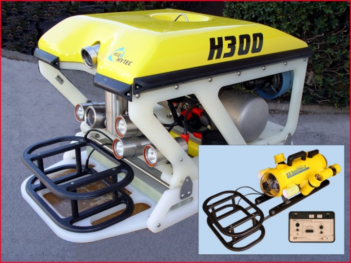 ECA Robotics ROV with JW Fishers RMD-1 remote metal detector on front, Inset - Fishers ROV with RMD-1