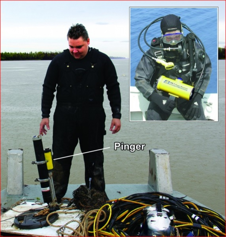 Commercial diver with recovered ADCP & pinger, Inset - diver with PR-1 receiver
