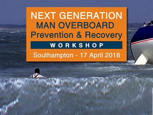 MAN OVERBOARD Prevention & Recovery Workshop 2018 - Wave & Logo with Southampton & Date